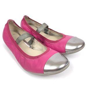 Clarks Girls Pink Silver Toe Ballet Flats 3.5